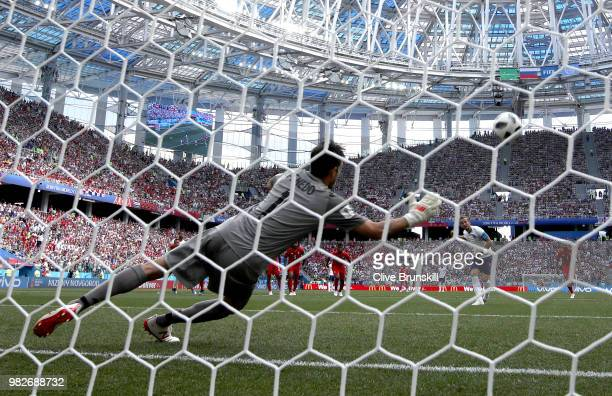 Harry Kane of England scores a penalty for his team's second goal past Jaime Penedo of Panama during the 2018 FIFA World Cup Russia group G match...