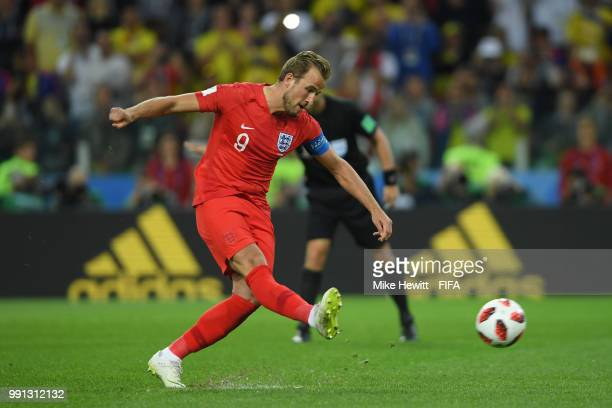 Harry Kane of England scores from the penalty spot during the 2018 FIFA World Cup Russia Round of 16 match between Colombia and England at Spartak...