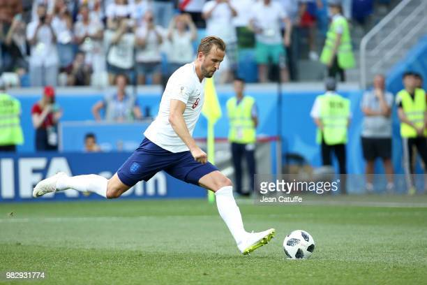 Harry Kane of England scores his first goal on a penalty during the 2018 FIFA World Cup Russia group G match between England and Panama at Nizhniy...