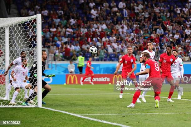 Harry Kane of England scores his sides second goal during the 2018 FIFA World Cup Russia group G match between Tunisia and England at Volgograd Arena...