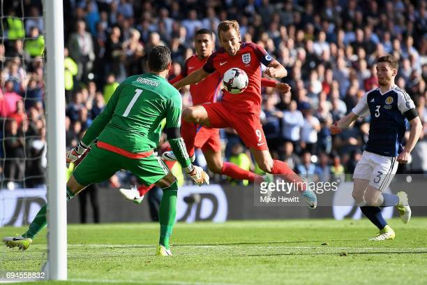 Harry Kane of England scores his sides second goal past Craig Gordon of Scotland during the FIFA 2018 World Cup Qualifier between Scotland and...