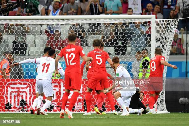 Harry Kane of England scores his team's first goal during the 2018 FIFA World Cup Russia group G match between Tunisia and England at Volgograd Arena...