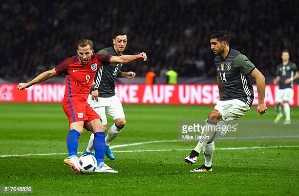 Harry Kane of England scores his team's first goal during the International Friendly match between Germany and England at Olympiastadion on March 26...