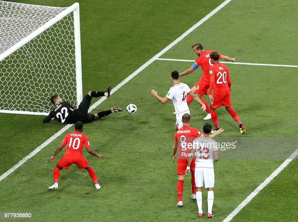 Harry Kane of England scores his team's first goal past Mouez Hassen of Tunisia during the 2018 FIFA World Cup Russia group G match between Tunisia...
