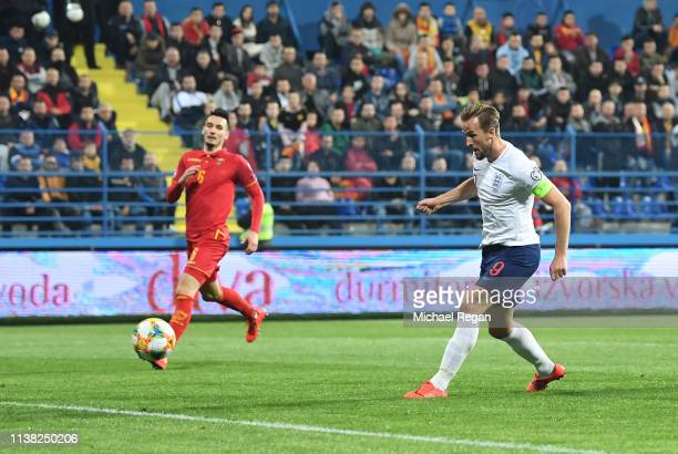 Harry Kane of England scores his team's fourth goal during the 2020 UEFA European Championships Group A qualifying match between Montenegro and...