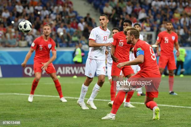 Harry Kane of England scores his team's second goal during the 2018 FIFA World Cup Russia group G match between Tunisia and England at Volgograd...