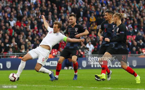 Harry Kane of England scores his team's second goal during the UEFA Nations League A group four match between England and Croatia at Wembley Stadium...