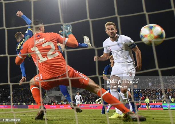 Harry Kane of England scores his team's second goal during the UEFA Euro 2020 Qualifier between Kosovo and England at the Pristina City Stadium on...