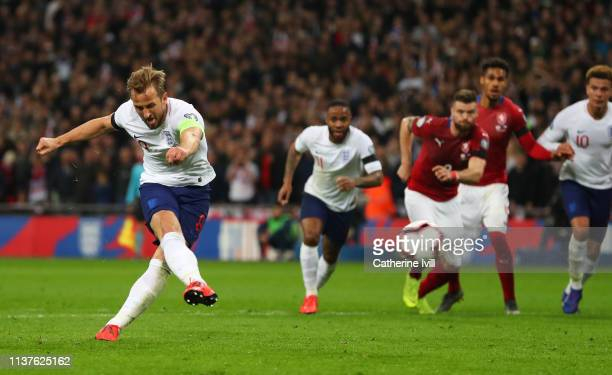 Harry Kane of England scores his team's second goal from a penalty during the 2020 UEFA European Championships Group A qualifying match between...