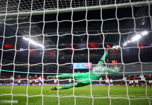 Harry Kane of England scores his team's second goal from a penalty past Jiri Pavlenka of the Czech Republic during the 2020 UEFA European...