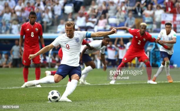 Harry Kane of England scores his team's second goal from the penalty spot during the 2018 FIFA World Cup Russia group G match between England and...