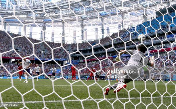 Harry Kane of England scores past Jaime Penedo of Panama his team's second goal from the penalty spot during the 2018 FIFA World Cup Russia group G...