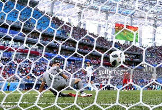Harry Kane of England scores past Jaime Penedo of Panama his team's sixth goal during the 2018 FIFA World Cup Russia group G match between England...