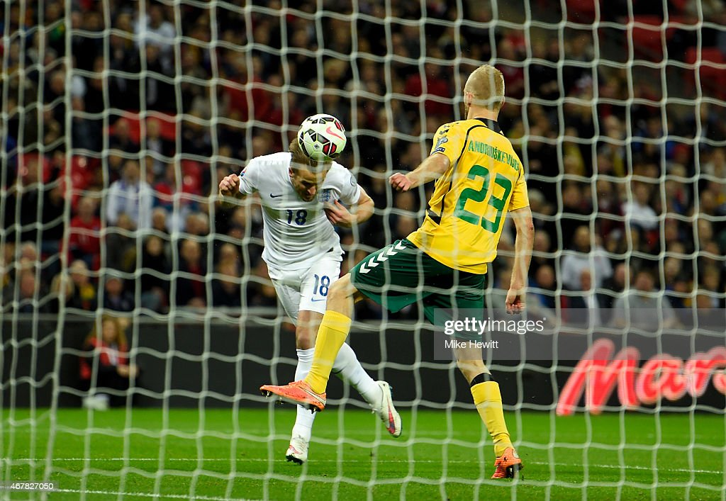 Harry Kane of England scores the fourth goal during the EURO 2016 Qualifier match between England and Lithuania at Wembley Stadium on March 27, 2015 in London, England.