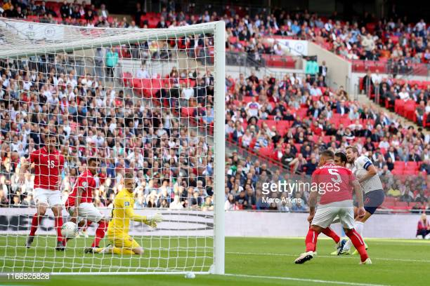 Harry Kane of England scores the opening goal during the UEFA Euro 2020 qualifier match between England and Bulgaria at Wembley Stadium on September...