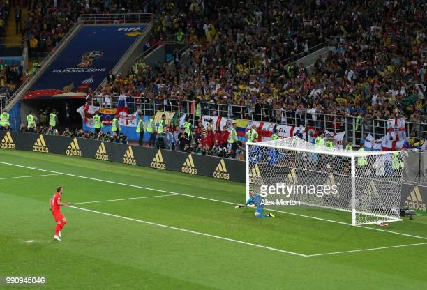 Harry Kane of England scores the opening goal from a penalty past David Ospina of Colombia during the 2018 FIFA World Cup Russia Round of 16 match...