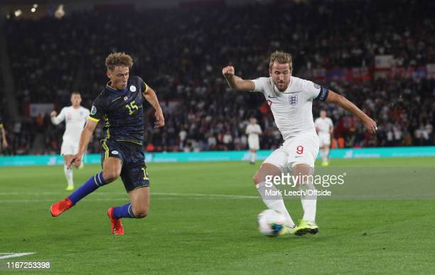 Harry Kane of England scores the second goal for his team during the UEFA Euro 2020 qualifier match between England and Kosovo at St Mary's Stadium...