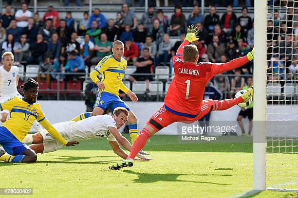 Harry Kane of England sees his diving header go wide during the UEFA Under21 European Championship 2015 match between Sweden and England at Andruv...