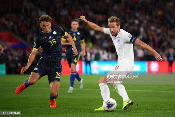 Harry Kane of England shoots and scores his teams second goal during the UEFA Euro 2020 qualifier match between England and Kosovo at St Mary's...