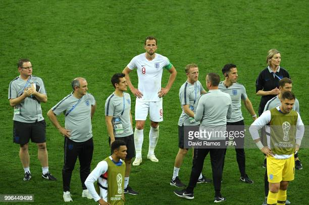 Harry Kane of England show his dejection following the 2018 FIFA World Cup Russia Semi Final match between England and Croatia at Luzhniki Stadium on...