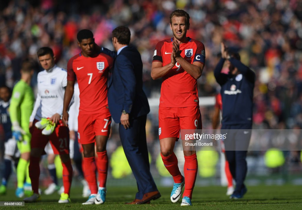 Harry Kane of England shows appreciation to the fans after the FIFA 2018 World Cup Qualifier between Scotland and England at Hampden Park National Stadium on June 10, 2017 in Glasgow, Scotland.