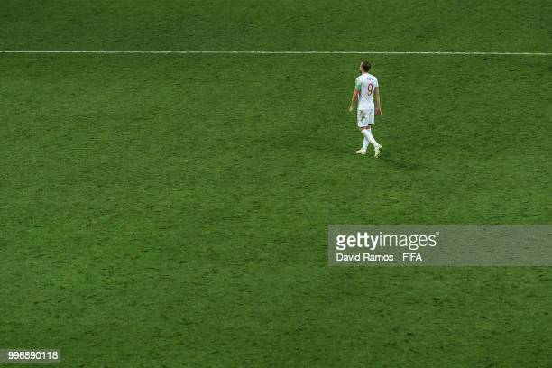 Harry Kane of England shows his dejection following the 2018 FIFA World Cup Russia Semi Final match between England and Croatia at Luzhniki Stadium...