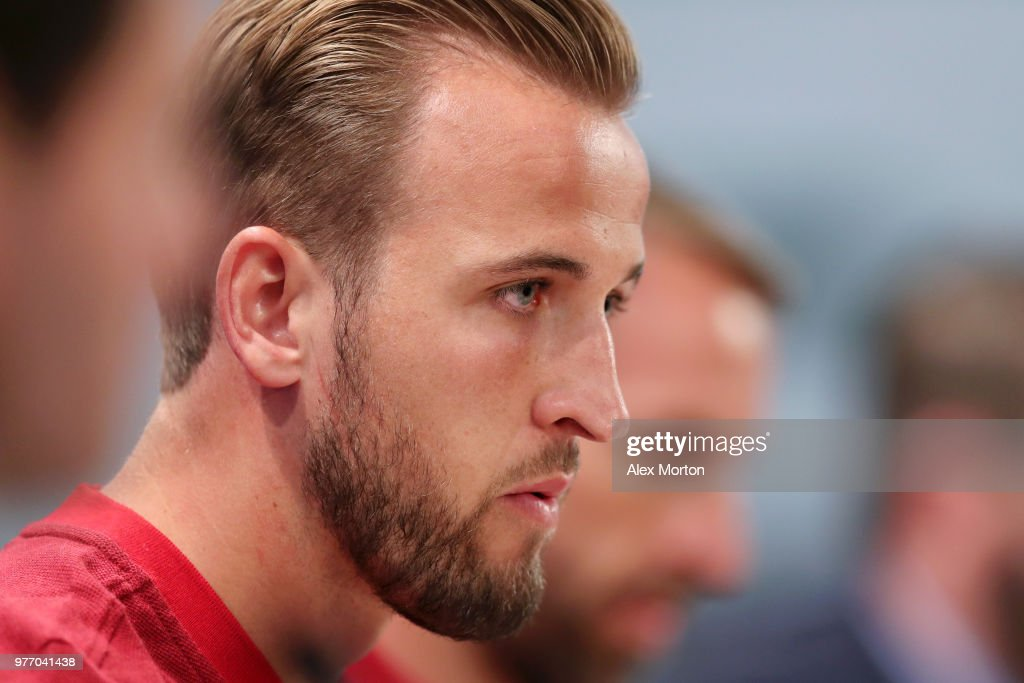 Harry Kane of England speaks during the England press conference ahead of the 2018 FIFA World Cup match against Tunisia at Volgograd Arena on June 17, 2018 in Volgograd, Russia.
