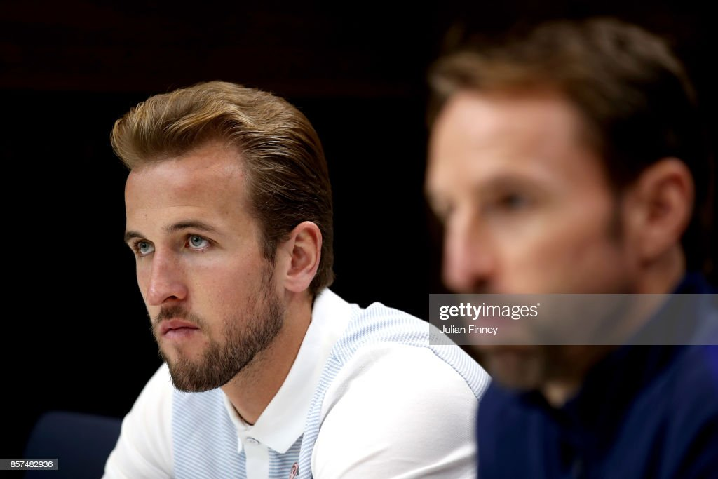 Harry Kane of England speaks to the media during a England Press Confrence at the Tottenham Hotspur training ground on October 4, 2017 in Enfield, England.