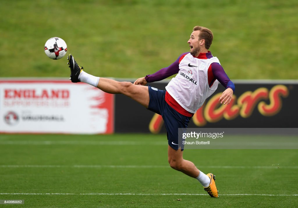 Harry Kane of England stretches to controll the ball during a England training session ahead of their World Cup Qualifiers against Malta and Slovakia at St Georges Park on August 29, 2017 in Burton-upon-Trent, England.