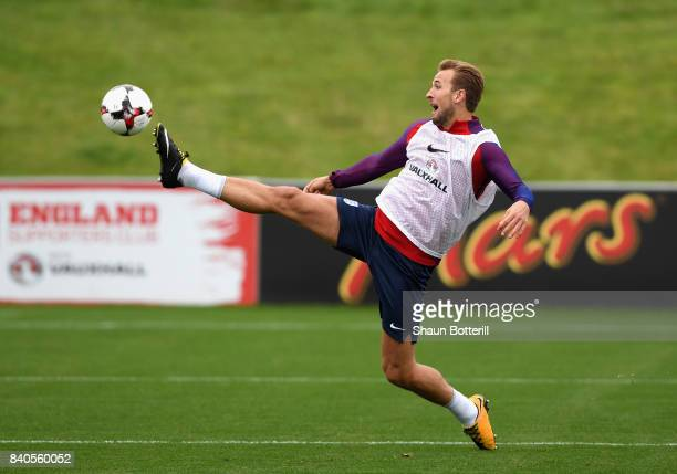 Harry Kane of England stretches to controll the ball during a England training session ahead of their World Cup Qualifiers against Malta and Slovakia...