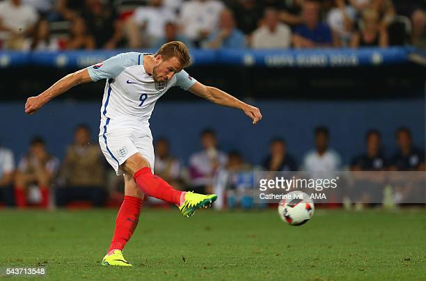Harry Kane of England takes a free kick during the UEFA EURO 2016 Round of 16 match between England and Iceland at Allianz Riviera Stadium on June 27...