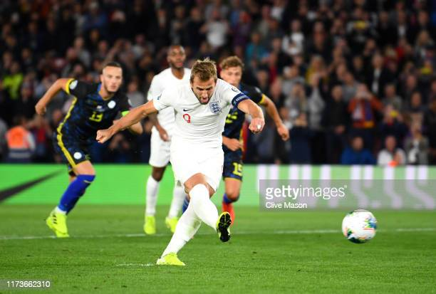 Harry Kane of England takes and misses a penalty during the UEFA Euro 2020 qualifier match between England and Kosovo at St Mary's Stadium on...