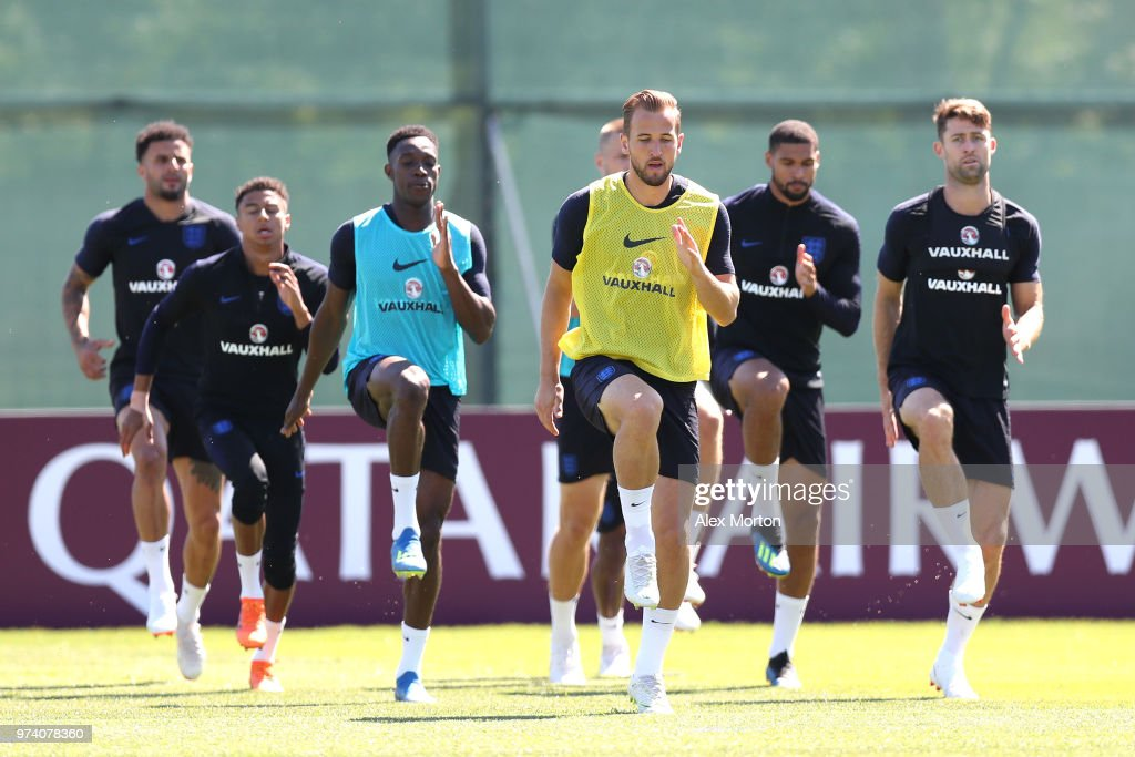 Harry Kane of England takes part in a training session during the England media access at Spartak Zelenogorsk Stadium ahead of the FIFA World Cup 2018 on June 14, 2018 in Saint Petersburg, Russia.