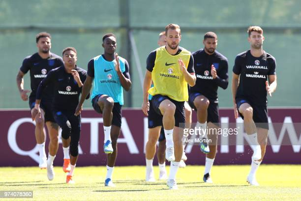 Harry Kane of England takes part in a training session during the England media access at Spartak Zelenogorsk Stadium ahead of the FIFA World Cup...