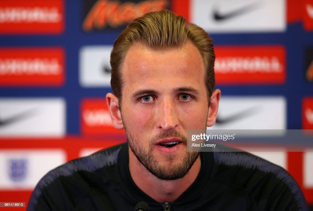 Harry Kane of England talks to the media during a press conference at St Georges Park on May 22, 2018 in Burton-upon-Trent, England.