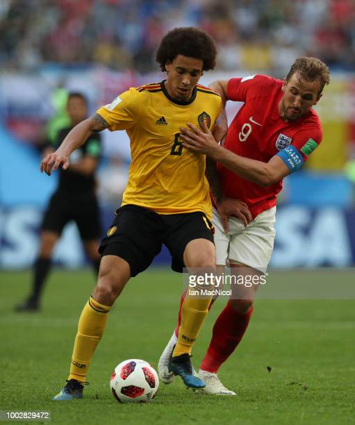 Harry Kane of England vies with Axel Witsel of Belgium during the 2018 FIFA World Cup Russia 3rd Place Playoff match between Belgium and England at...