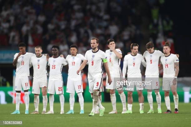 Harry Kane of England walks to take his penalty during a penalty shoot out during the UEFA Euro 2020 Championship Final between Italy and England at...