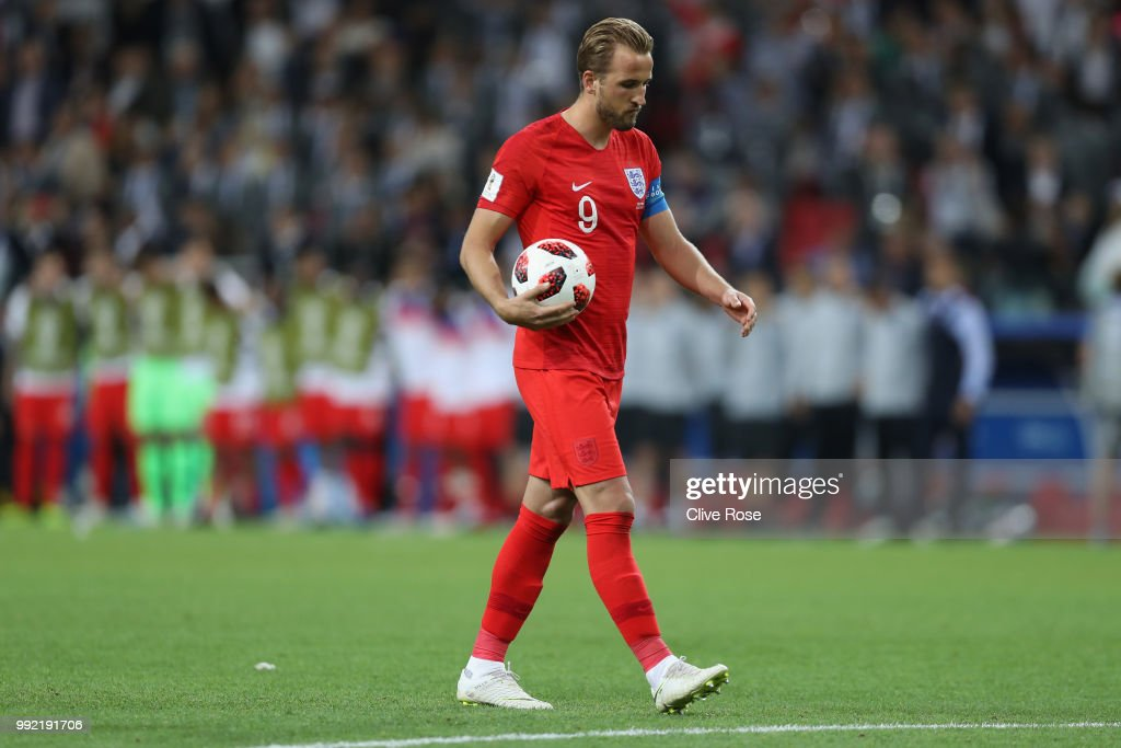 Harry Kane of England walks to the penalty spot to take the first penalty of the shoot out during the 2018 FIFA World Cup Russia Round of 16 match between Colombia and England at Spartak Stadium on July 3, 2018 in Moscow, Russia.