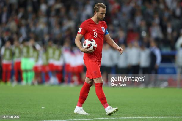 Harry Kane of England walks to the penalty spot to take the first penalty of the shoot out during the 2018 FIFA World Cup Russia Round of 16 match...
