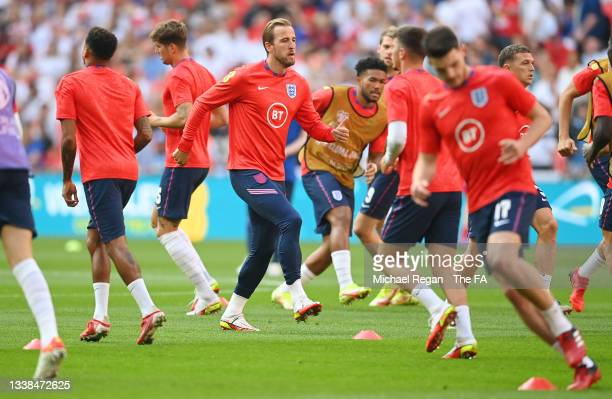 Harry Kane of England warms up prior to the 2022 FIFA World Cup Qualifier match between England and Andorra at Wembley Stadium on September 05, 2021...