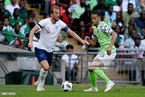Harry Kane of England William Troost Ekong of Nigeria during the International Friendly match between England v Nigeria at the Wembley Stadium on...