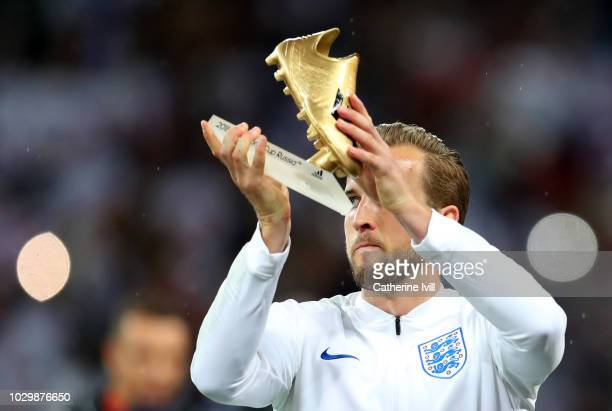 Harry Kane of England with the World Cup 2018 Golden Boot Award the UEFA Nations League A group four match between England and Spain at Wembley...