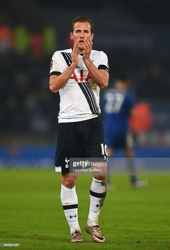 Harry Kane of Spurs applauds the travelling fans following their 2-0 victory during the Emirates FA Cup Third Round Replay match between Leicester City and Tottenham Hotspur at The King Power Stadium on January 20, 2016 in Leicester, England.