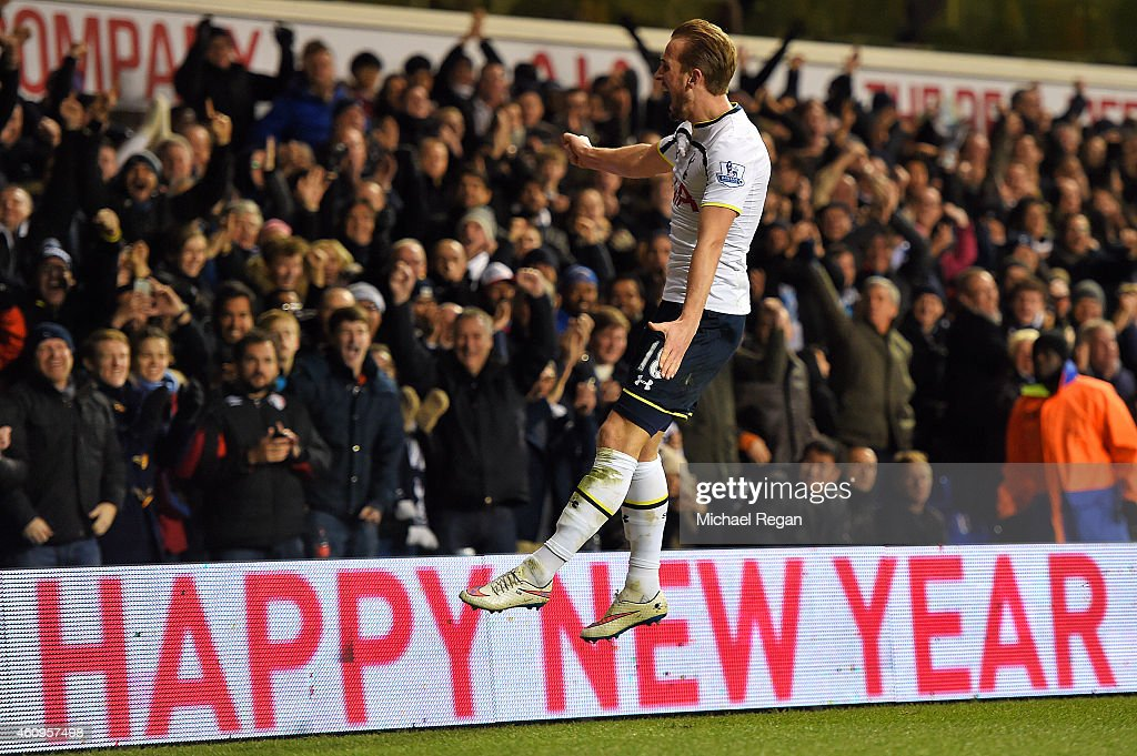 Harry Kane of Spurs celebrates after scoring his team's first goal during the Barclays Premier League match between Tottenham Hotspur and Chelsea at White Hart Lane on January 1, 2015 in London, England.