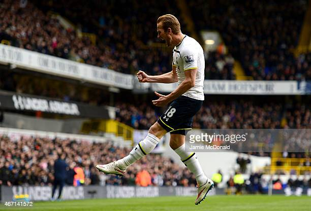 Harry Kane of Spurs celebrates after scoring the opening goal during the Barclays Premier League match between Tottenham Hotspur and Leicester City...