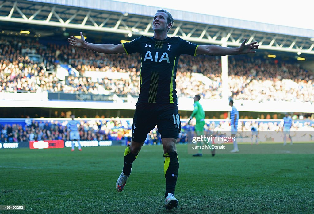 Harry Kane of Spurs celebrates as he scores their second goal during the Barclays Premier League match between Queens Park Rangers and Tottenham Hotspur at Loftus Road on March 7, 2015 in London, England.