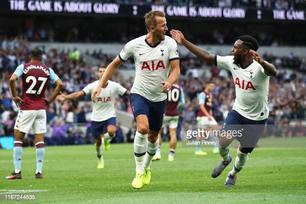 Harry Kane of Spurs celebrates his first goal during the Premier League match between Tottenham Hotspur and Aston Villa at Tottenham Hotspur Stadium...
