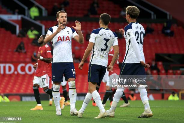 Harry Kane of Spurs celebrates scoring their 6th goal from the penalty spot with Sergio Reguilon and Dele Alli during the Premier League match...