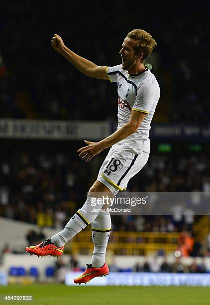 Harry Kane of Spurs celebrates scoring their first goal during the UEFA Europa League Qualifying PlayOffs Round Second Leg match between Tottenham...