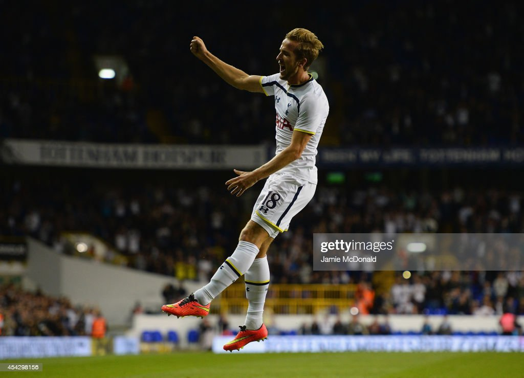 Harry Kane of Spurs celebrates scoring their first goal during the UEFA Europa League Qualifying Play-Offs Round Second Leg match between Tottenham Hotspur and AEL Limassol FC on August 28, 2014 in London, United Kingdom.